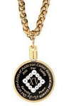 Recovery Medallion Necklace Holder - Gold Thick Chain, 30 inch