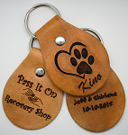 Personalized Laser Engraved Recovery Leather Key Chains - Tan