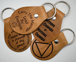 Laser Engraved Recovery Leather Key Chains - Tan
