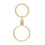 Bezel Medallion Holder Key Chain Gold Plated