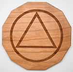 Laser Engraved Cherry Wood Coaster AA Symbol