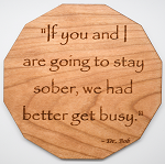 Laser Engraved Cherry Wood Coaster Dr Bob Quote