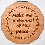 Laser Engraved Cherry Wood Coaster Make me a channel of thy peace