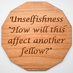 Laser Engraved Cherry Wood Coaster Unselfishness