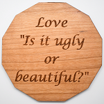 Laser Engraved Cherry Wood Coaster Love