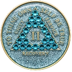 Crystallized Glitter Aqua Medallion