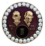 Bling Purple Crystallized Bill and Bob Medallion
