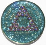 Bling Glitter Aqua Crystallized Medallion