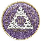 Crystallized Glitter Purple and Diamond Medallion