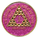 Crystallized Glitter Pink and Gold Medallion
