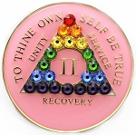 Rainbow Pink Crystallized Medallion