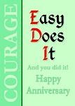 Easy Does It, Happy Anniversary Recovery Card