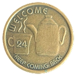 Coffee Pot Antique Bronze Affirmation Token  AA|NA|Al-Anon