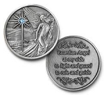 Guardian Angel Antique Nickel with Aqua Stone Affirmation Coins  AA|NA|Al-Anon