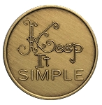 Keep It Simple Bronze Affirmation Coins AA|NA|Al Anon