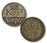 Keep It Simple Bronze Affirmation Tokens  AA|NA|Al-Anon