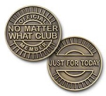 No Matter What Club Bronze Affirmation Tokens  AA|NA|Al-Anon