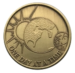One Day At A Time Bronze Affirmation Coins AA|NA|Al Anon
