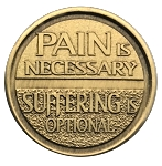 Pain is Necessary Suffering is Optional Bronze Affirmation AA Coins