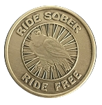 Ride Sober Ride Free Antique AA Bronze Coins