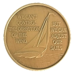 Sailboat Bronze Affirmation Coin  AA|NA|Al-Anon