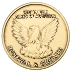 Out of the Ashes of Addiction Renewal & Growth Phoenix Bronze Coin