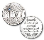 Guardian Angel Shiny Silver Finish with Aqua Stone Affirmation Coins  AA|NA|Al-Anon