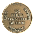 To Thine Own Self Be True Antique Bronze Affirmation Token  AA|NA|Al-Anon