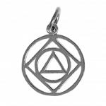 Sterling Silver AA & NA Anonymous Dual Symbol Pendant