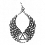 Sterling Silver AA Recovery Symbol on Beautiful Angel Wings