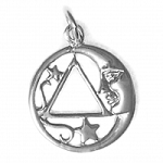 Sterling Silver Moon & Star Pendant with AA Symbol