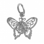 Sterling Silver Butterfly Pendant with AA Symbol