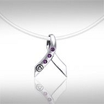 Recovery Ribbon Silver Pendant Amethyst with AA Symbol