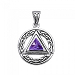 Celtic Amethyst AA Symbol Sterling Silver Pendant