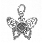 NA Symbol on a Beautiful Butterfly Sterling Silver Pendant