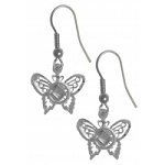 Sterling Silver NA Symbol on a Small Butterfly Earrings