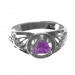 Sterling Silver AA Symbol Ring with Purple CZ Amethyst Color Triangle