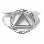 Sterling Silver Ring AA Symbol in Twist Wire Circle