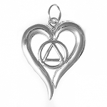 Sterling Silver AA Symbol in Open Heart Necklace with 18 inch Box Chain