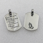 Stainless Steel Dog Tag with Serenity Prayer and Praying Hands