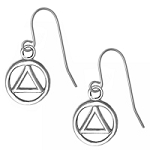 Sterling Silver AA Small Circle Triangle Earrings