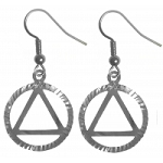 Sterling Silver AA Symbol in a Diamond Cut Circle Earrings