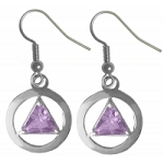 Sterling Silver AA Symbol Earrings with 6 mm Amethyst Colored CZ Triangle