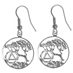 Sterling Silver AA Recovery Symbol Earrings with Tree of Life