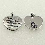 Stainless Steel Heart Pendant with Serenity Prayer & Prayer Hands Necklace