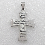 Stainless Steel Serenity Prayer Cross Pendant Necklace