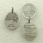 Stainless Steel Two Piece Tree of Life with Serenity Prayer Pendant Necklace