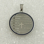 Stainless Steel Serenity Prayer Medallion Necklace