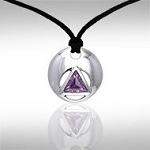 AA Symbol Silver Disc Amethyst Pendant with Cord