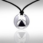 AA Symbol Silver Disc Black Onyx Pendant with Cord